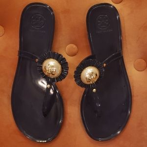 Navy blue rubber Tory Burch thong sandals